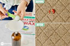 Learn how to make a simple four-ingredient carpet stain remover spray here! Keep it handy and you'll be able to eliminate carpet stains ASAP. Borax Cleaning, Household Cleaning Tips, Diy Cleaning Products, Cleaning Hacks, Homemade Products, Cleaning Recipes, Cleaning Solutions, Homemade Carpet Stain Remover, Stain Remover Carpet