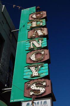 Clancy's Aqua Lounge neon sign, Oakland, CA School Signage, Roadside Signs, Love Neon Sign, Vintage Neon Signs, Neon Nights, Old Signs, Googie, Vintage Advertisements, Vintage Ads