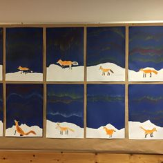 """Kettu ja revontulet"" (1.-2.lk) Alkuopettajat FB -sivustosta / Eeva Hiltunen Winter Jokes, Fox Crafts, 2nd Grade Art, Winter Project, Easy Art Projects, Sketch Painting, Winter Art, Camping With Kids, Art Classroom"