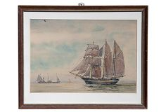 Pen & ink watercolor clipper ship by Jonathan Howell