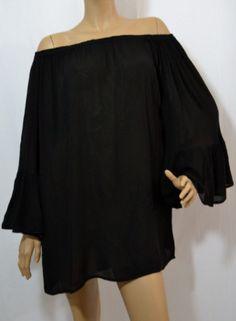 Cindy Indian Tropical Ruffle Off Shoulder Top--Black - Debra's Passion Boutique