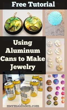 Jewelry Making Tutorials Tutorial gratis con latas de aluminio para hacer la joyería - In this post, I'll show how to use aluminum cans for jewelry. We'll go over how to punch out discs for jewelry, emboss them, and turn them into earrings. Aluminum Can Crafts, Aluminum Cans, Metal Crafts, I Love Jewelry, Wire Jewelry, Jewelry Crafts, Jewlery, Gold Jewelry, Jewelry Ideas