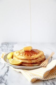 Lemon cream pancakes. These are amazing. I substituted the heavy cream for coconut milk. I added some more zest and about half a teaspoon of lemon juice. I made a maple honey butter topping. Delicious!