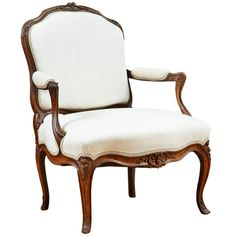 French Louis XV Fauteuil a la Reine   From a unique collection of antique and modern armchairs at https://www.1stdibs.com/furniture/seating/armchairs/