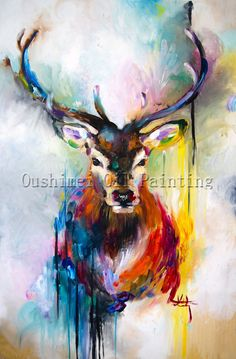 X Series 100%Handmade Colorful Animal Deer Portrait Oil Painting On Canvas Hand-painted Stag Oil Painting For Home Decoration