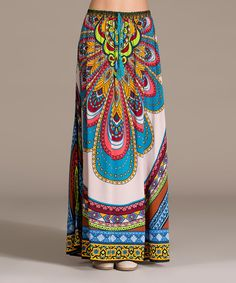 Look at this Flying Tomato Taupe & Blue Abstract Maxi Skirt on #zulily today!