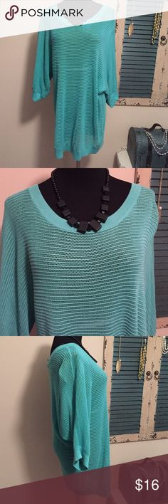 New without tags real express sweater This beautiful woven sweater has 3/4 sleeves and is a great color! Size large from express. New without tags, just been hanging around my closet. Smoke free home. 100% rayon. Bundle for discounts. Express Sweaters Crew & Scoop Necks