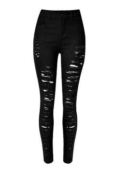 Jeans pitillo con ALL-Más de Shredded Rips