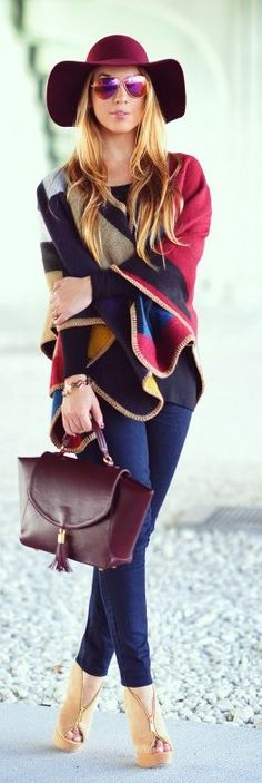 Chic In The City- Multi Colorful Poncho by Chic Fashion World | ~LadyLuxuryDesigns