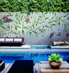 What do you think of this interior? Rate 1 to 10. . . . Use IGCODE20 for 20% discount. . . #floralmural #junglevibes #poolinterior #swimmingpooldesign #swimmingpoolinteriors #natureinspires #interiordetails #commercialdesign #commercialwallpaper #commercialwallcoverings #homewallpaper #homeideas #wallpapering #diywall #diydesign #diyinteriordesign #homeinterior4you #homeinterior123 #interiorandhome #interiorhome Commercial Wallpaper, Swimming Pool Designs, Outdoor Furniture Sets, Outdoor Decor, Home Wallpaper, Trendy Home, Saturated Color, Commercial Design, Diy Wall