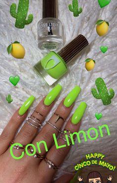 Lime green nails uploaded by ♌Fay Flitzgerard♌ coffin nails lime green - Coffin Nails Yellow Nails Design, Yellow Nail Art, Nail Design, Dope Nails, My Nails, Long Gel Nails, Gorgeous Nails, Pretty Nails, Lime Green Nails