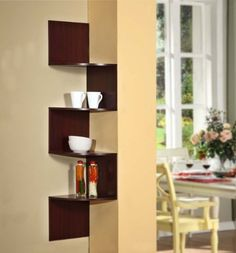 Best 15 Easy Wall Shelf Design Ideas For Your Home Decoration Have you ever felt the appearance of a house feels very bland and boring? It all depends on the arrangement, arrangement, choice of interior styles, a. Corner Shelf Design, Corner Storage Shelves, Corner Wall, Wall Shelves Design, Corner Space, Small Corner, Room Shelves, Cozy Corner, Wooden Wall Shelves
