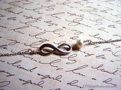 Silver Infinity and Genuine Freshwater Pearl by CYDesignStudio, $18.00