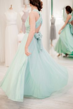 Blue multiway full length tulle bridesmaids dress from the Twobirds Bridesmaids Collection for Spring 2015 | Photography by http://naomikenton.com/