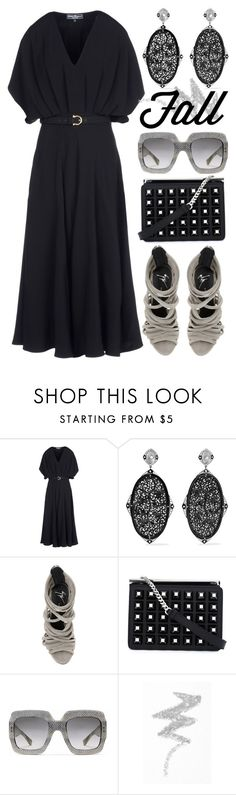"""""""pre-fall in black"""" by foundlostme ❤ liked on Polyvore featuring Salvatore Ferragamo, Fred Leighton, Fendi, Gucci, NYX, maxidress and plussize"""