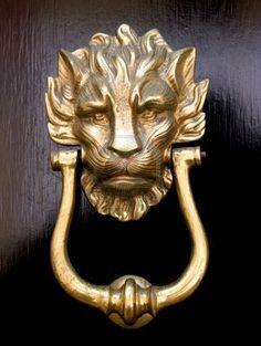 Lion knocker.