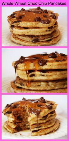 Whole Wheat- Chocolate Chip Pancakes #recipe