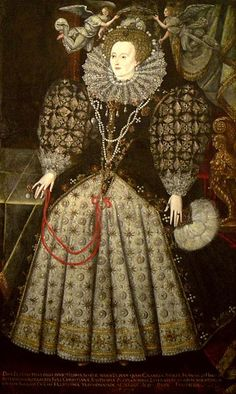A portrait of Queen Elizabeth I, encircled by angels, c. 1590. The portrait hangs in Jesus College, Oxford, which was founded by Queen Elizabeth I.