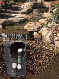 Custom Pro Complete Pondless Waterfall Kits The Pond and Garden Depot offers a wide range of products for the yard and landscape specializing in products for garden ponds and water features. Backyard Water Feature, Ponds Backyard, Garden Ponds, Desert Backyard, Outdoor Water Features, Water Features In The Garden, Garden Waterfall, Waterfall Building, Diy Pondless Waterfall
