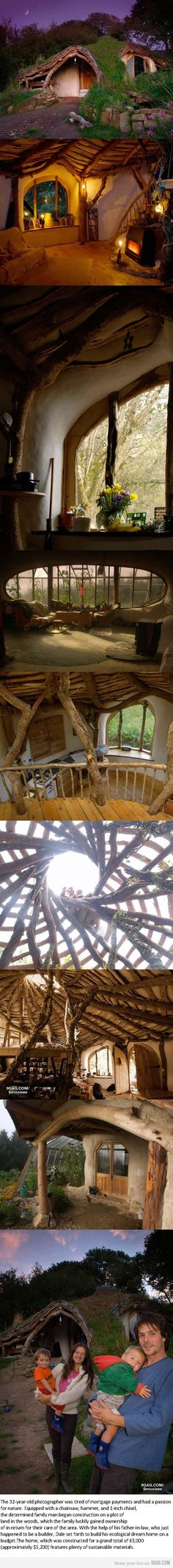 ✿ڿڰۣ  cool cob hobbit home. I'm even more interested in some of the images just below it-- the massive round window-room. I'm pretty sure the other image with the greenhouse built onto the left side of the front door is the same house. Awesome design lets one take full advantage of the beauty (and humidity, smells, etc.) of their garden!