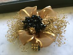 gold and black wrist corsage for prom gold by TheCrystalFlower, $58.00