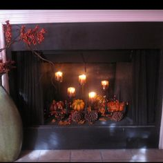The Hoot: Festive Fall Fireplace Fall Fireplace Decor, Unused Fireplace, Fireplace Decorations, Fireplace Ideas, Fall Home Decor, Autumn Home, Thanksgiving Decorations, Christmas Decorations, Thanksgiving 2013