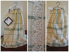 Green and cream plaid pillowcase dress size 5 by VintageSkys, $15.00