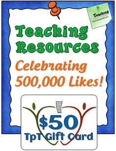 Corkboard Connections: Celebrating 500,000 Facebook Likes with a $50 TpT Giveaway!