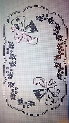 Xmas Cross Stitch, Cross Stitch Borders, Cross Stitch Baby, Cross Stitching, Cross Stitch Embroidery, Filet Crochet Charts, Crochet Doily Patterns, Thread Crochet, Crochet Stitches