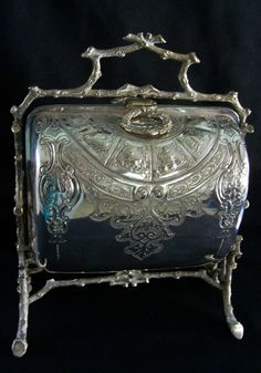 Antique Fenton Bros English  Silverplate Folding Biscuit Box Astrology Motif
