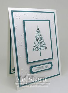 handmade Christmas card ... Festival Of Tree ... white with teal ink and mats ... centered design  with main panel focal point ... Stampin' Up!