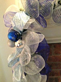 Christmas Garland Deco Mesh Garland Mantel by WelcomeHomeWreath