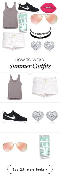 """Cute outfit for summer lol! ✌️"" by chloewood2006 on Polyvore featuring Rebecca Minkoff, NIKE, Ray-Ban, Lime Crime and Charlotte Russe"