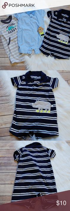 👶CARTER's Bundle of 3 Rompers Bundle of 3 rompers. Barely worn, if at all. Gray and white striped Awesome Like Daddy, light blue and white striped monkey, navy and white striped rhino.    Instagram: @bringingupsuns Carter's Bottoms Jumpsuits & Rompers