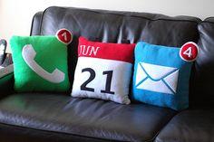 app pillows Cute Pillows, Diy Pillows, Decorative Pillows, Cushions, Throw Pillows, Funny Pillows, Wash Pillows, Nerd Room, Sewing Pillows
