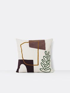 With imagery found in the mystic atmosphere of oasis and desert paradises, the Ferm Living Mirage series turns objects into abstract shapes and Le Mirage, Large Cushions, Duvet, Textiles, Modern Shop, Abstract Shapes, Woven Rug, Home Decor Items, Crafts