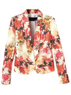 Floral Lapel Blazer Single Button Slim Blazer   Choies