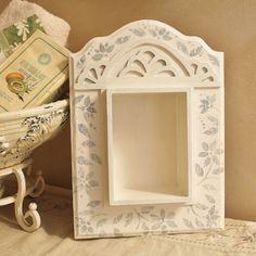 Shabby Chic Shelf,Shadowbox,Painted Shadowbox, Shabby Chic Decor, Cottage Chic Decor,Knick Knack display,Wooden Display, Shelf, Wooden Shelf