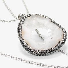 """Local artisans inspired the one-of-a-kind look of our agate pendant necklace, framed by sparkling glass crystals. White agate pendant necklace Approx. 36"""" in length with 2"""" extender Imitation rhodium; lobster close; agate; glass Custom designed exclusively for WHBM. Handcrafted with nickel-free and lead-free metal.  female obsessories whbm jewelry shoes & accessories necklace Silver Beauty is in the eye of the beholder and this necklace has our vote. #obsessories #whbm"""