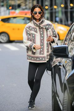 Lily Aldridge's oversized Isabel Marant jacket adds the right amount of pow to her leggings and trainers