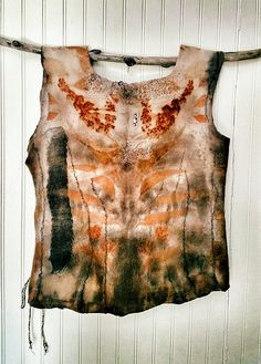Shield Maiden hand made Eco printed top by Michelle Hoffee of Living and Dyeing as featured in summer 2014 Belle Armoire.