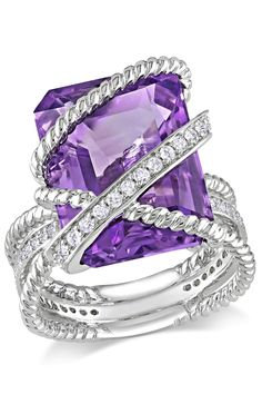 Silver 0.3ct Diamond & 11ct Amethyst Crossover Ring - Beyond the Rack