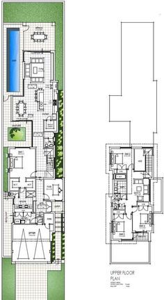 First Narrow Two Storey Design Floor Plans: