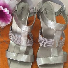 """Champagne sandals:Style and co. Shiny champagne sandals with elastic front and back, to hold the shoes in proper fitting.size 10 and 3"""" heels. Style & Co Shoes Sandals"""