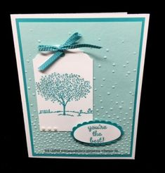 handmade card ... monochromatic aqua ... tag .. clean and simple design with lots of texture ...Stampin' Up!