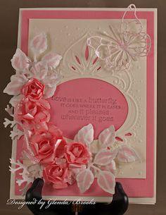 .flowers around a window frame card