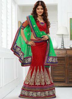 Dazzling Red #Net #Lehenga #Choli