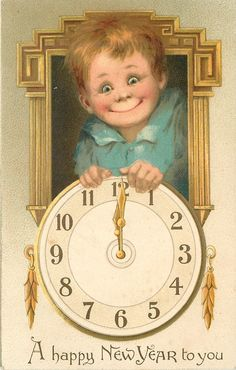 A HAPPY NEW YEAR TO YOU  insert of boy's face above clock  image^^^ 1900