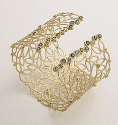Cuff | Ehud Barlev ~ Julieli Designs. 18k Gold, tourmaline & diamond