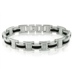 Mens Stainless Steel and Black Rubber Chain Link Bracelet 8 1/4inches Oxford Ivy, http://www.amazon.com/dp/B005DGRS88/ref=cm_sw_r_pi_dp_EgH4pb1P1WXG7